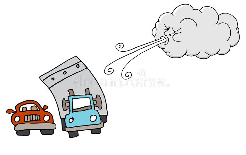 Windy Day Truck Cars and Cloud Blowing Wind. An image of a Windy Day Truck Cars and Cloud Blowing Wind cartoon stock illustration