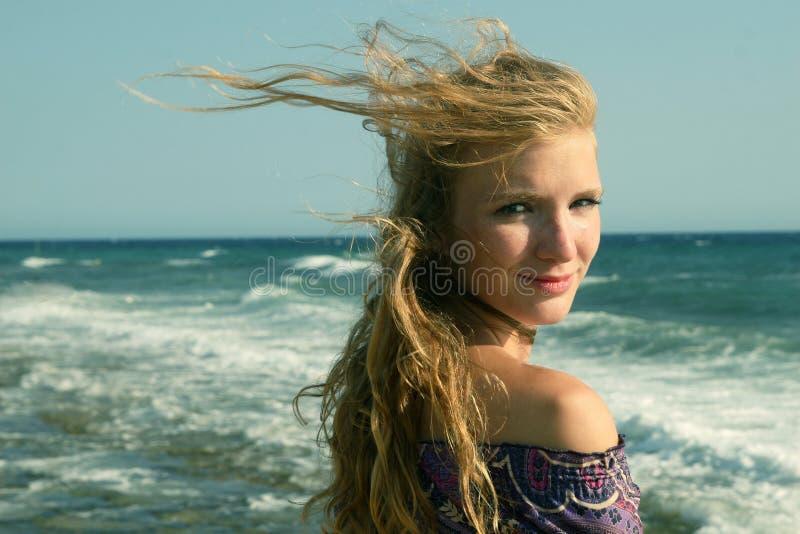 Windy girl stock photos