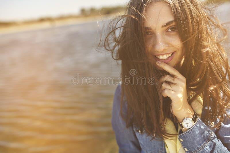 Windy girl portrait royalty free stock image