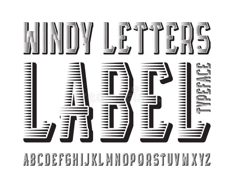 Windy Letters Label stilsort Svart kontrastera stilsort Isolerat engelskt alfabet royaltyfri illustrationer