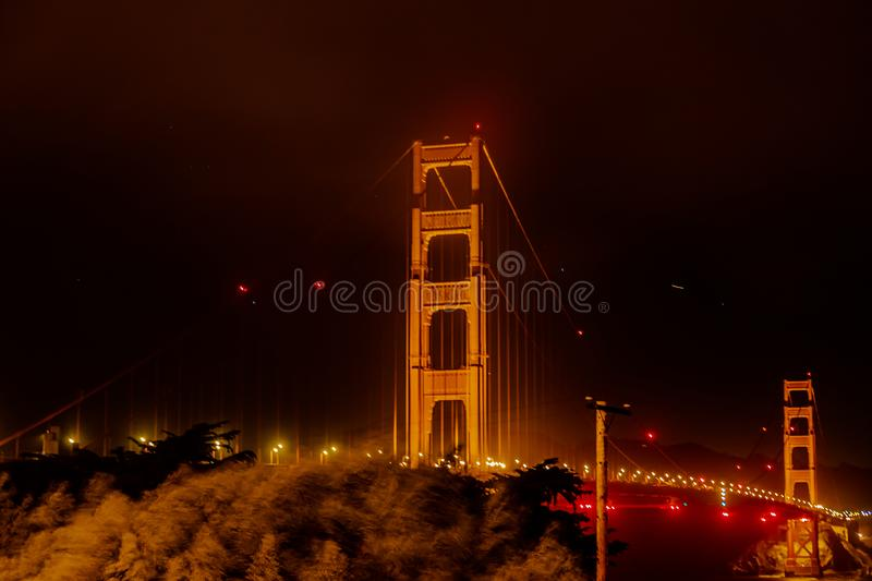 Windy night photo of Golden gate bridge San Francisco California. USA royalty free stock photography