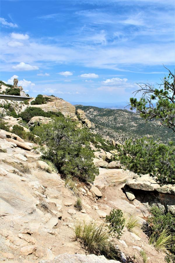Windy Point Vista, Berg Lemmon, Santa Catalina Mountains, Lincoln National Forest, Tucson, Arizona, Vereinigte Staaten lizenzfreie stockfotografie