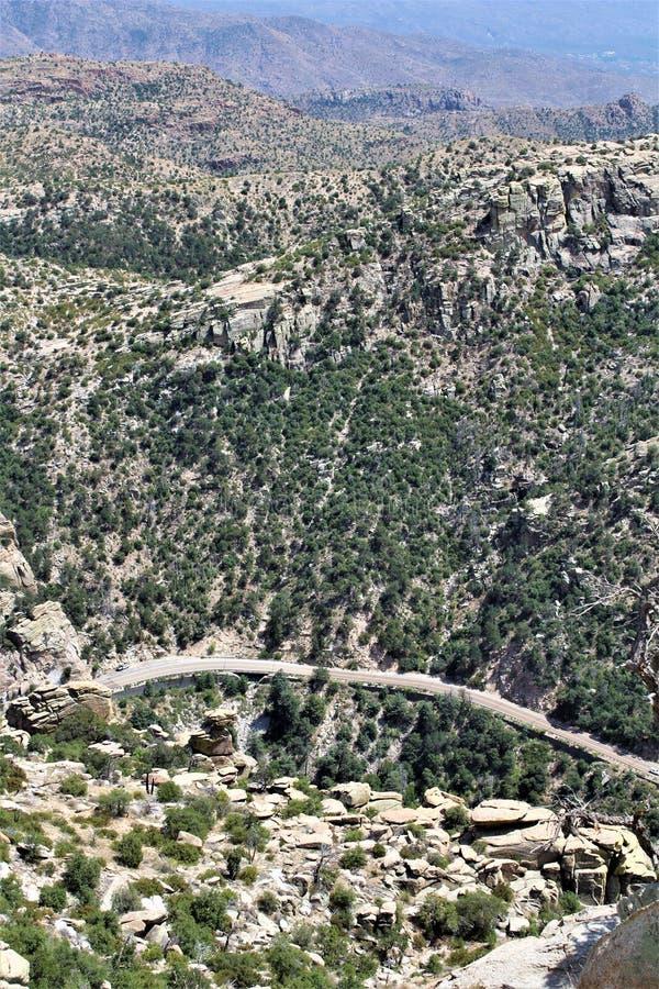 Windy Point Vista, Berg Lemmon, Santa Catalina Mountains, Lincoln National Forest, Tucson, Arizona, Vereinigte Staaten lizenzfreie stockbilder