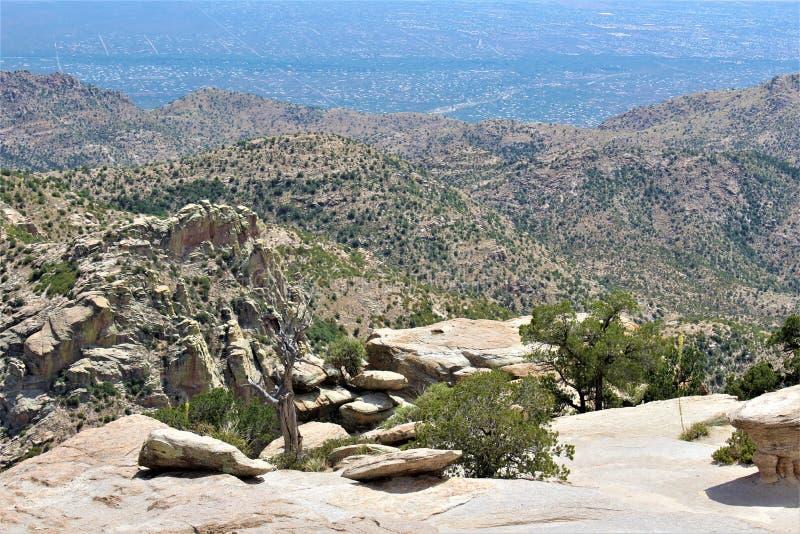 Windy Point Vista, montagem Lemmon, Santa Catalina Mountains, Lincoln National Forest, Tucson, o Arizona, Estados Unidos imagens de stock