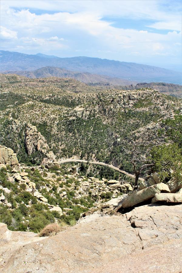 Windy Point Vista, montagem Lemmon, Santa Catalina Mountains, Lincoln National Forest, Tucson, o Arizona, Estados Unidos imagem de stock royalty free