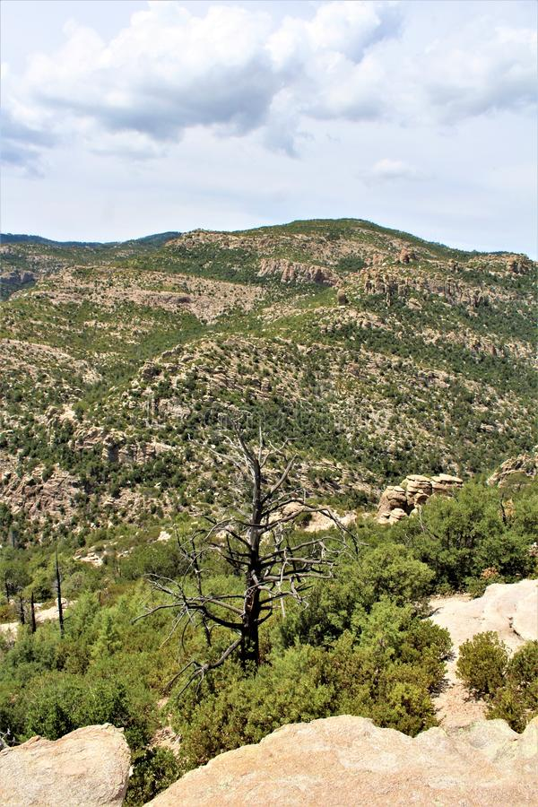 Windy Point Vista, Mount Lemmon, Santa Catalina Mountains, Lincoln National Forest, Tucson, Arizona, United States. Landscape scenic view with mountains and stock photo