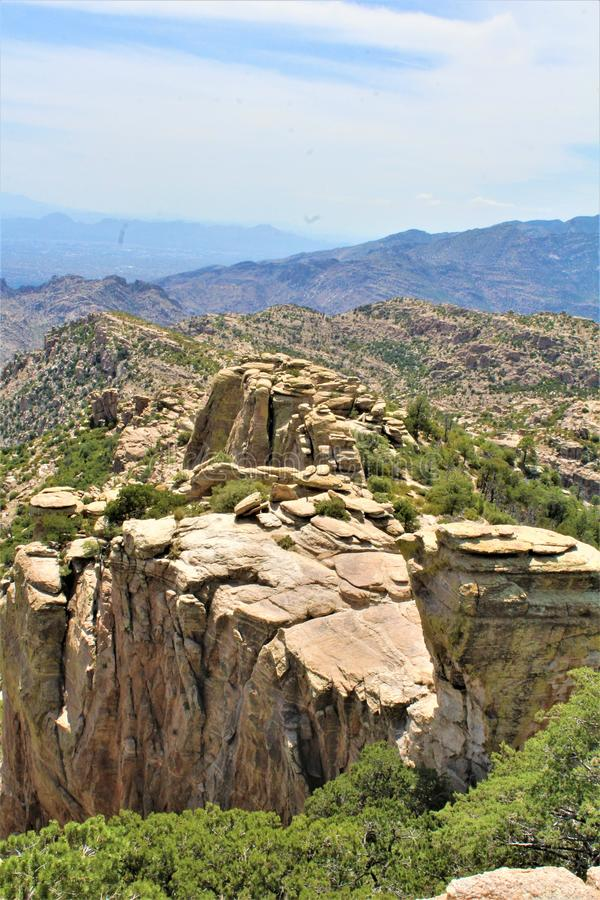 Windy Point Vista, supporto Lemmon, Santa Catalina Mountains, Lincoln National Forest, Tucson, Arizona, Stati Uniti fotografia stock libera da diritti