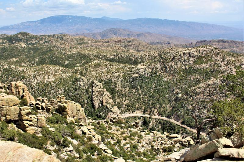 Windy Point Vista, supporto Lemmon, Santa Catalina Mountains, Lincoln National Forest, Tucson, Arizona, Stati Uniti fotografia stock