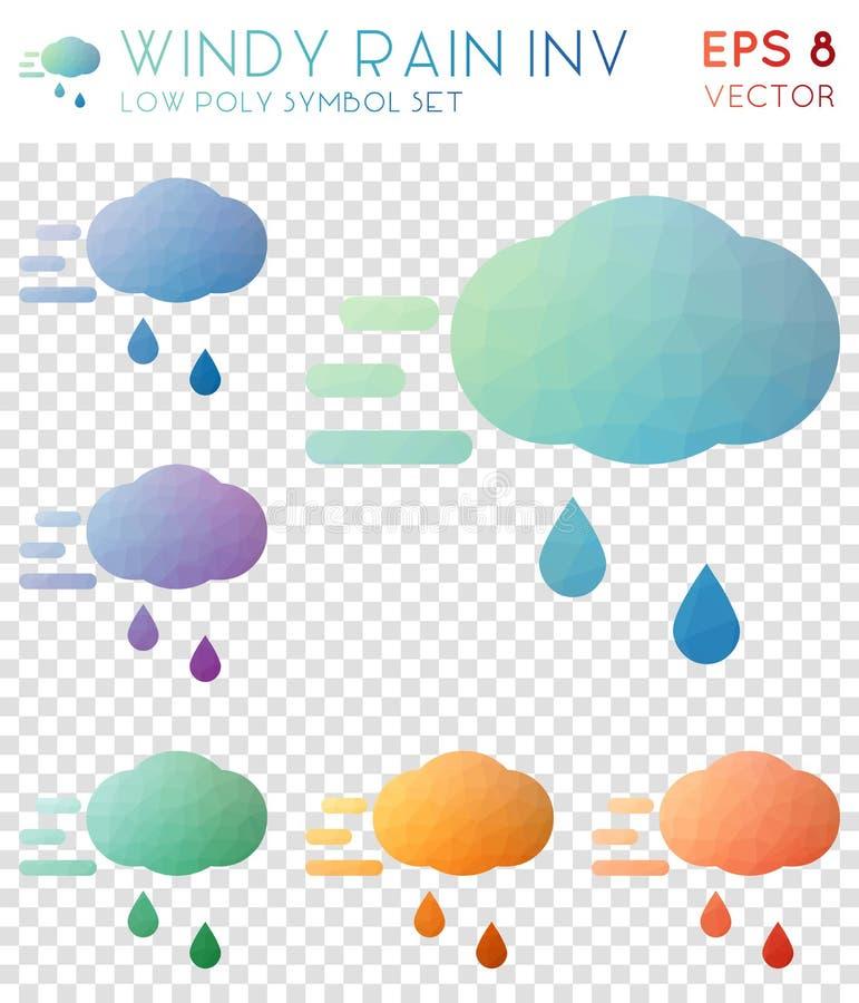 Windy rain inv geometric polygonal icons. stock illustration