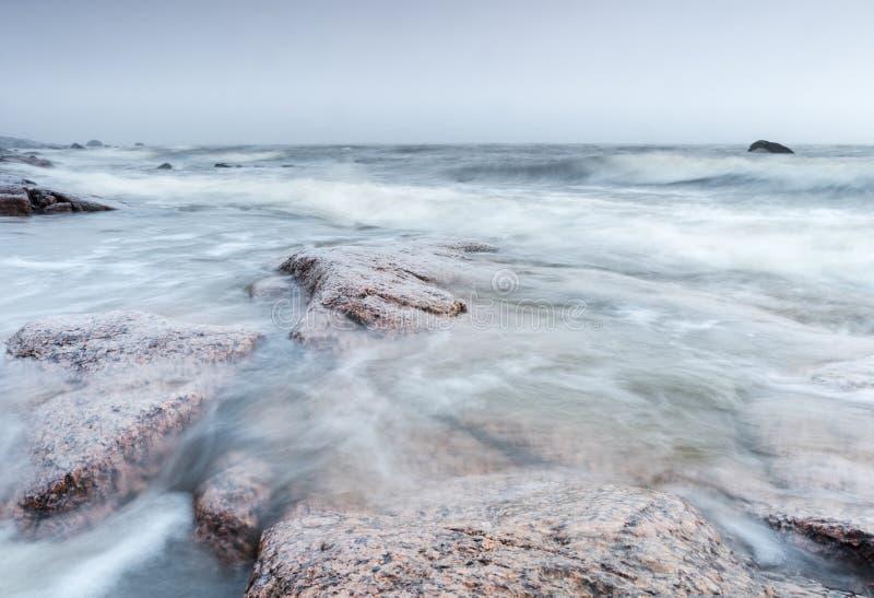 Windy seaside. At Reposaari, Pori, Finland royalty free stock photography