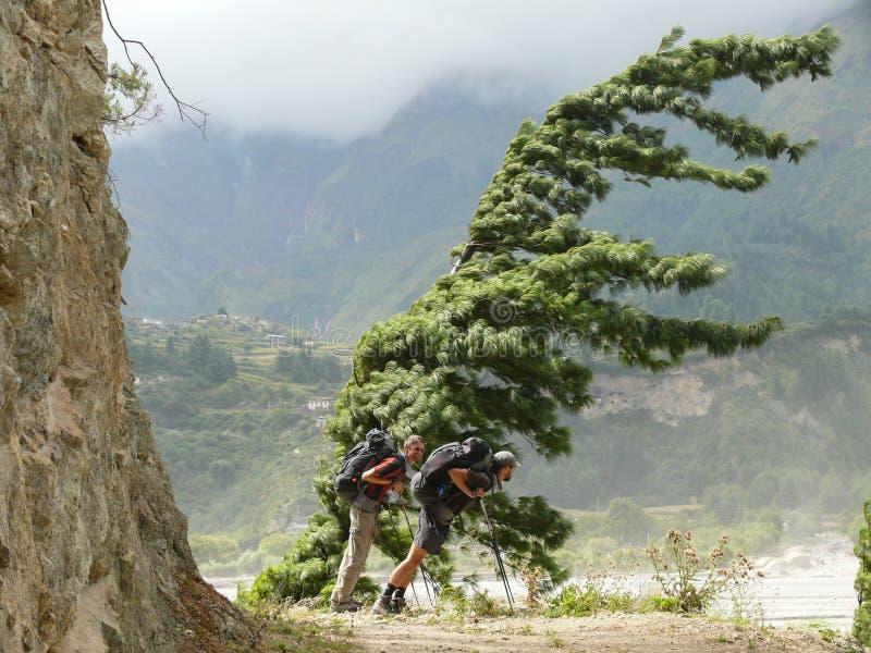 Windy valley of Kali Gandaki, Nepal. Annapurna circuit, Kali Gandaki river valley, Nepal stock images