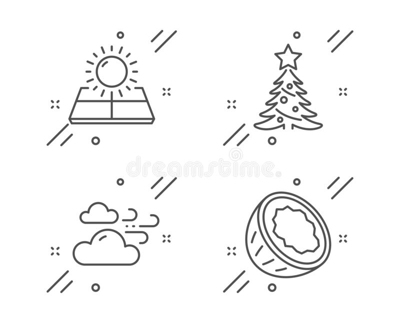 Windy weather, Sun energy and Christmas tree icons set. Coconut sign. Cloud wind, Solar panels, Spruce. Vector vector illustration