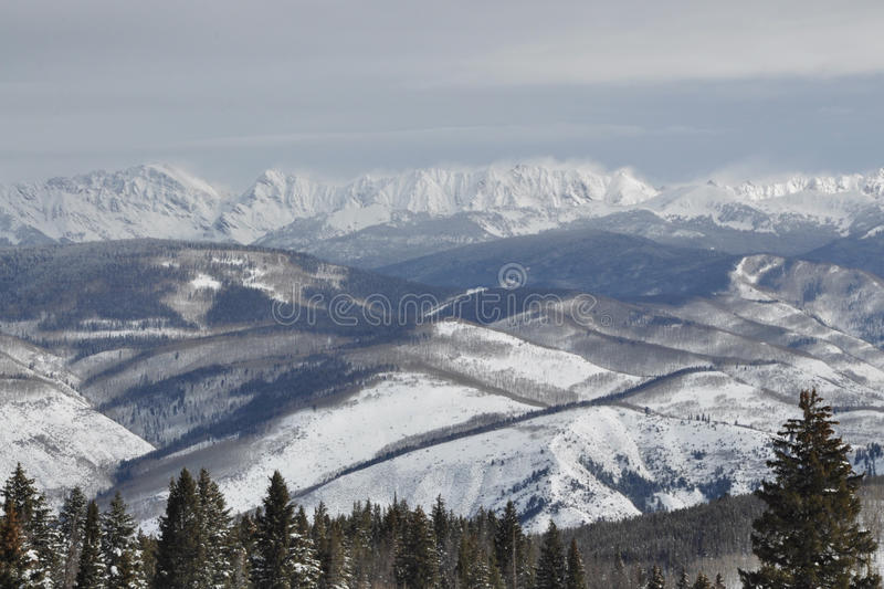 Windy Winter Day in the Gore Range, Beaver Creek Ski Area, Avon, Colorado stock photo