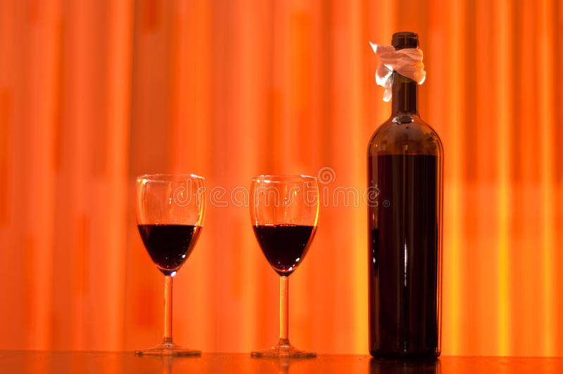 Download Red Wine Bottle With Two Glasses Stock Image - Image: 12768951