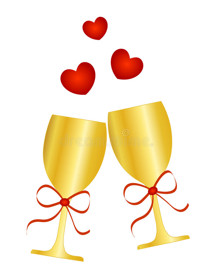 Wine. Vector illustration of golden glasses with champagne / wine with a red ribbon bow and hearts royalty free illustration