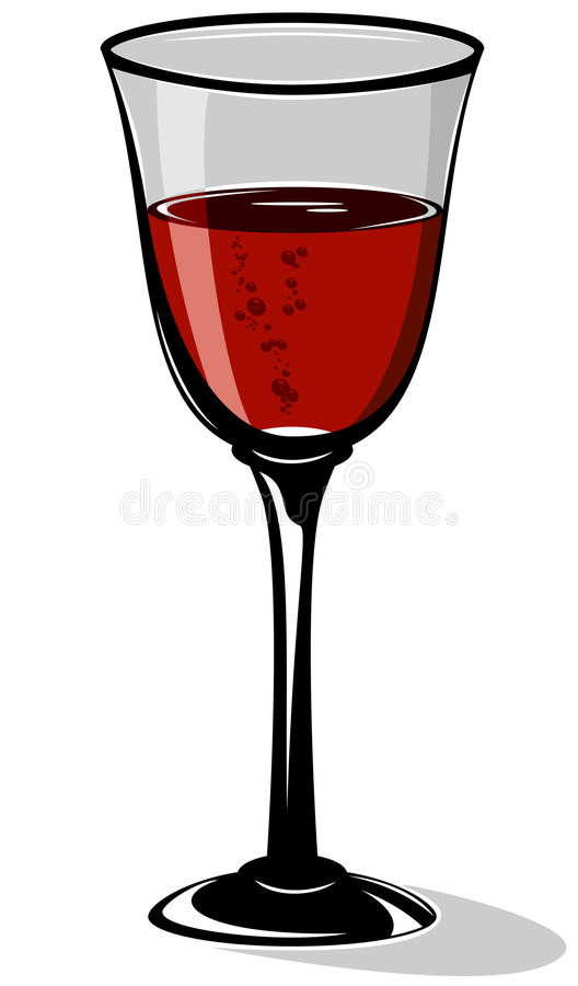 Wine. Red cocktail in a wineglass on white background, illustration vector illustration