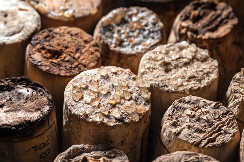 Download Wine Crystals on old Corks stock photo. Image of beverage - 29823646