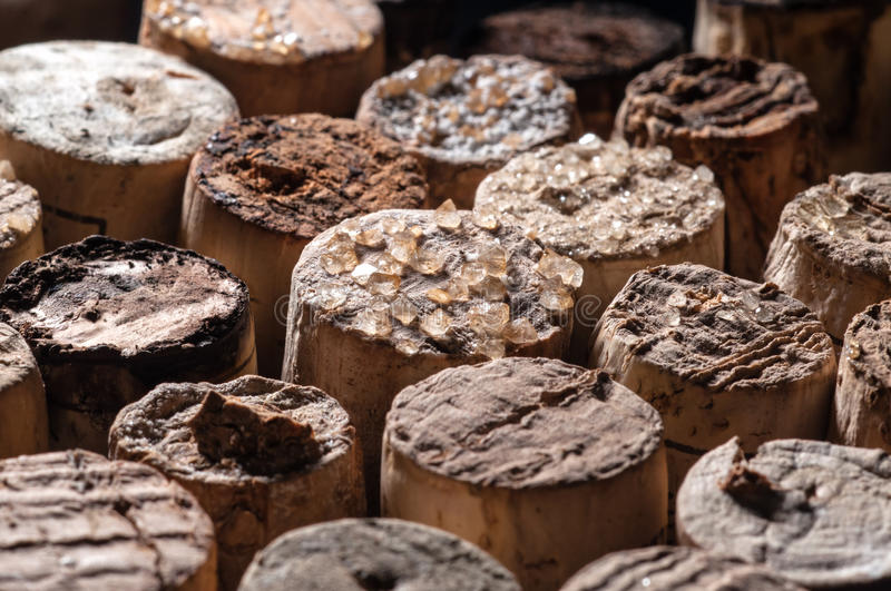 Download Wine Crystals on old Corks stock photo. Image of bunch - 29824406