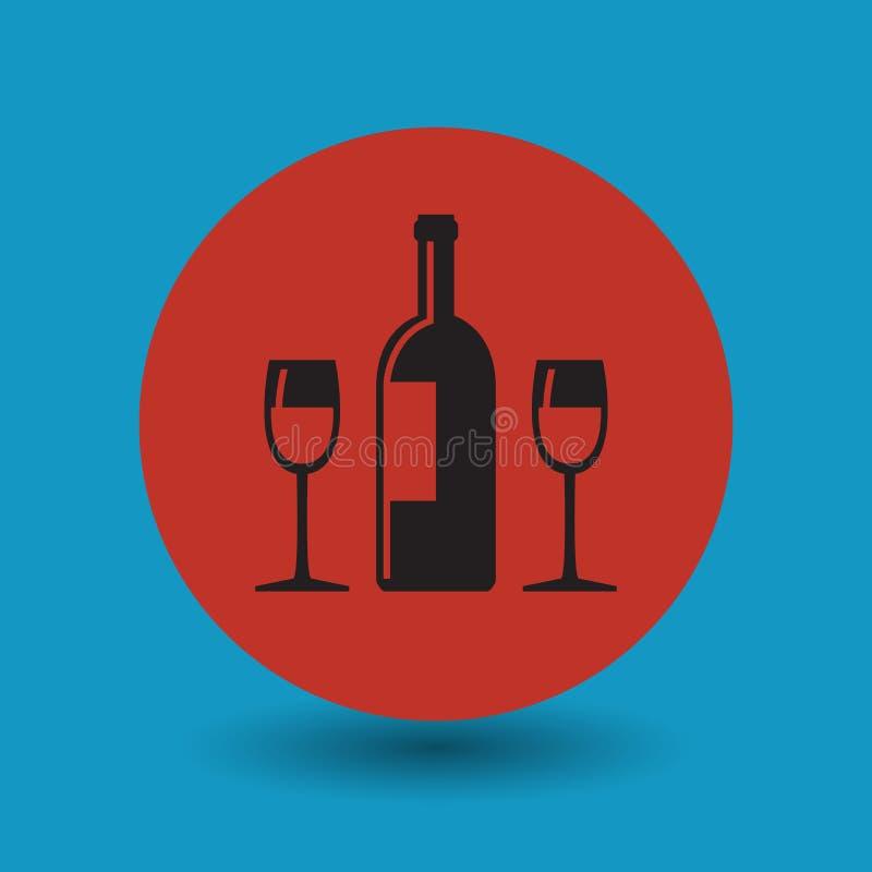 Wine or alcohol symbol or sign. Wine or alcohol symbol, vector illustration royalty free illustration