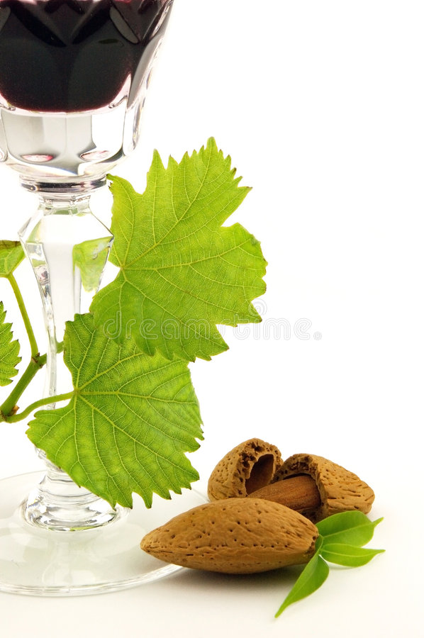 Wine and amande royalty free stock photos