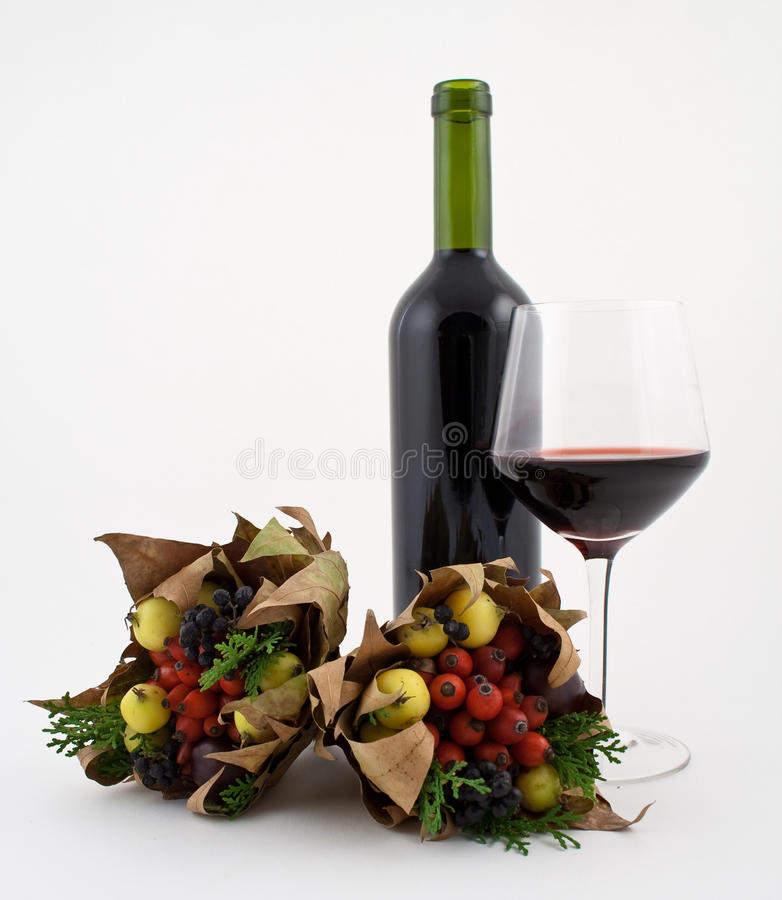 Free Wine And Autumn Dried Wild Fruit Stock Photography - 12054012