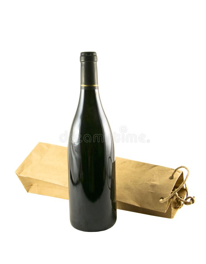 Wine bag and a bottle of wine stock photo