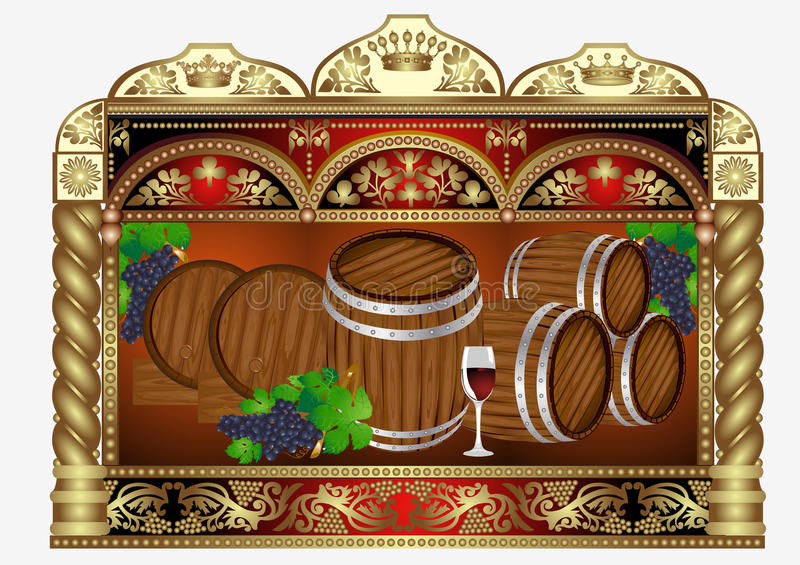 Wine banner advertising barrel vector illustration