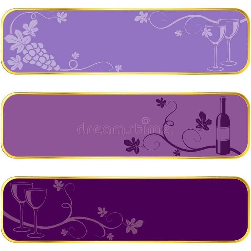 Download Wine Banners With Gold Rim Stock Image - Image: 9861821