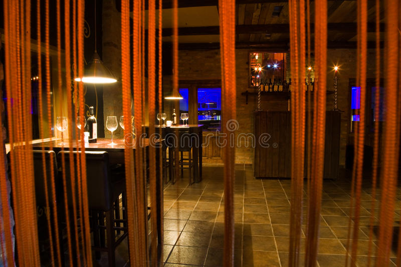 Wine Bar. Interiors of a wine bar stock images