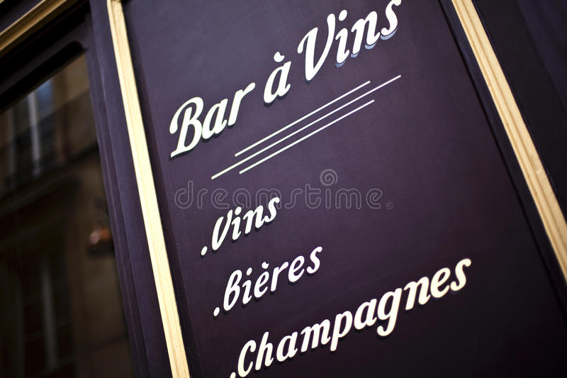 Wine bar. Facade of a wine bar in France stock photo