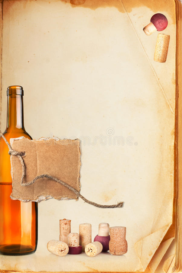 Wine bar list menu. Old book page, bottle of wine, cork and cardboard blank on rope with space for your text royalty free stock images