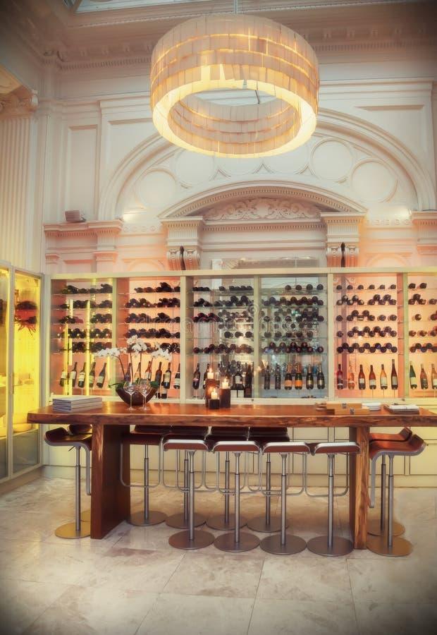 Wine bar in luxury restaurant royalty free stock image