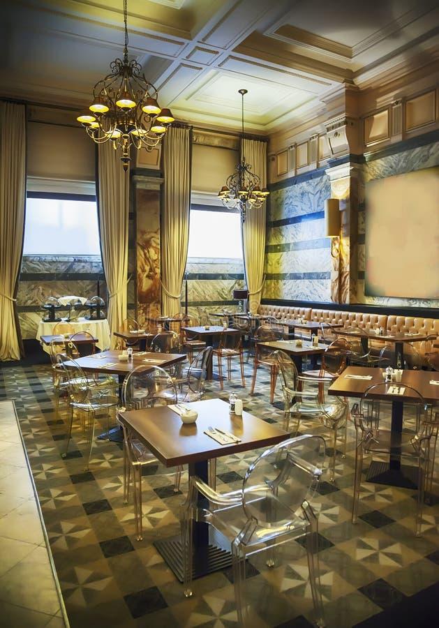 Wine bar in luxury restaurant stock photography