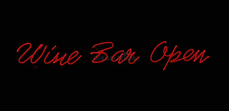 Wine Bar Neon Sign Stock Photo