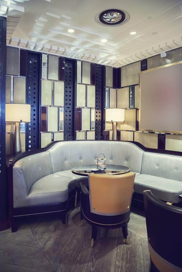 Wine bar in retro restaurant royalty free stock photography