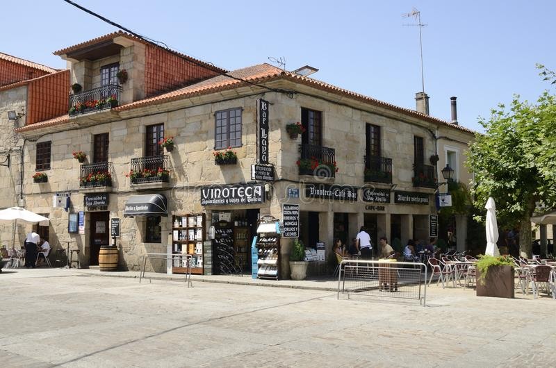 Wine bar. Some people in wine bar ia a square in Cambados, a town of the province of Pontevedra in Galicia, Spain royalty free stock photo