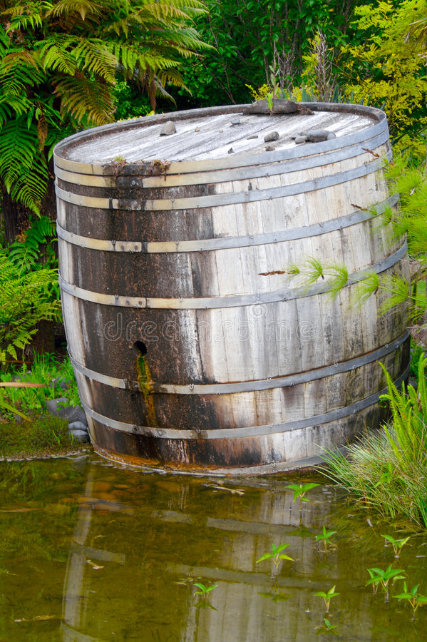 Wine barrel. A large wine barrel in the water stock images