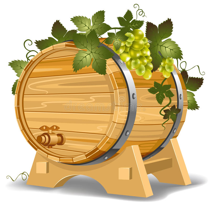 Wine barrel. With grapes on the stand stock illustration