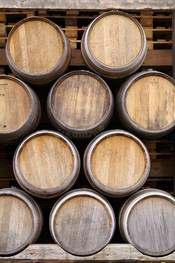 Wine barrel. A big stack of wine barrel stock photo