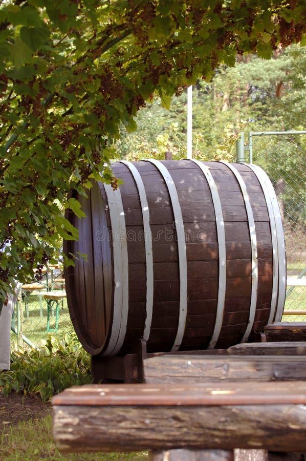Wine barrel. Big old wooden wine barrel under large wine fines stock images