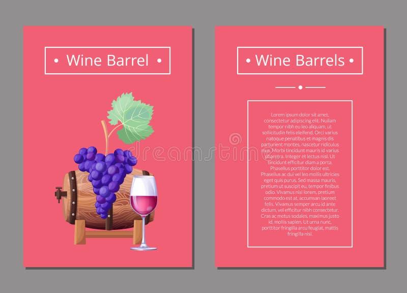 Wine Barrel with Bunch of Purple Grape, Glasswine royalty free illustration