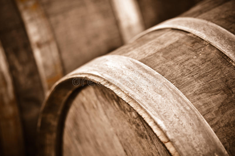 Wine Barrel in Cellar. Antique Wine Barrel stored in a Cool Cellar stock images