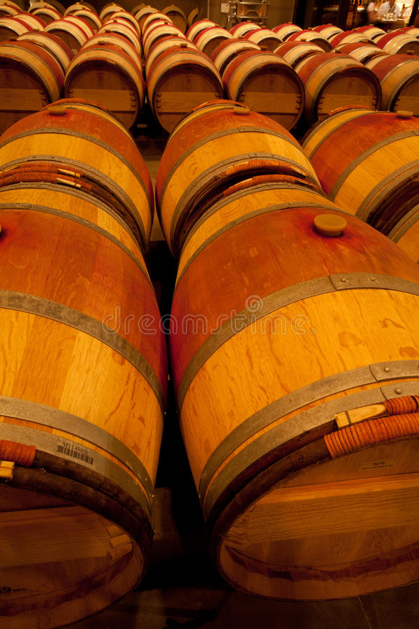 Wine Barrel In Cellar Stock Image