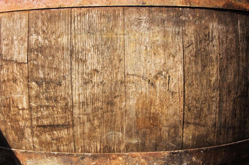 Wine barrel detail. Detail texture wooden barrel for wine, iron hoops on a barrel of wine royalty free stock images