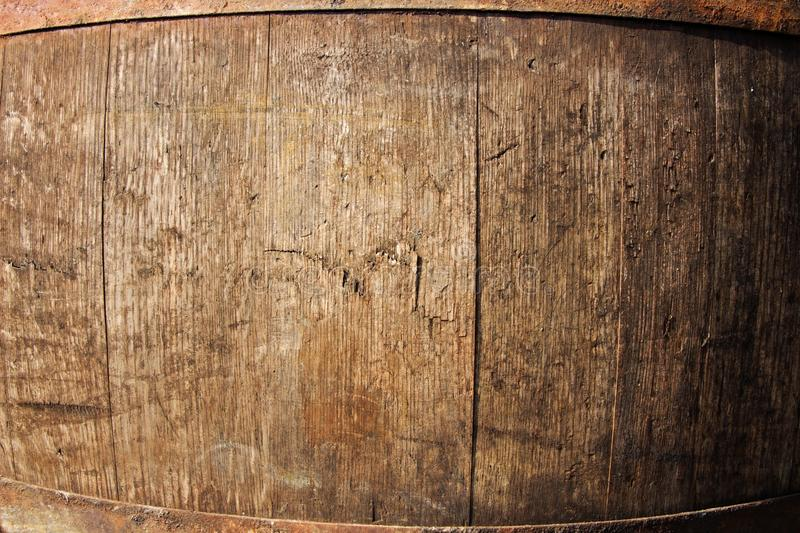 Wine barrel detail. Detail texture wooden barrel for wine, iron hoops on a barrel of wine royalty free stock photography