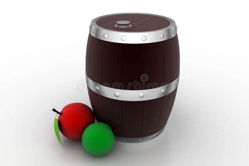 Wine barrel with fruits. In white background vector illustration