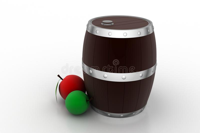 Wine barrel with fruits. In white background royalty free illustration