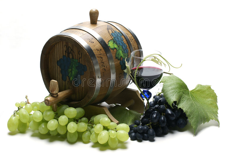 Wine barrel and grapes. On white background stock photo