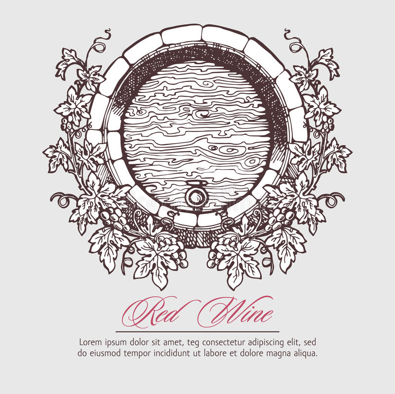 . Wine barrel with grapes wreath stock illustration