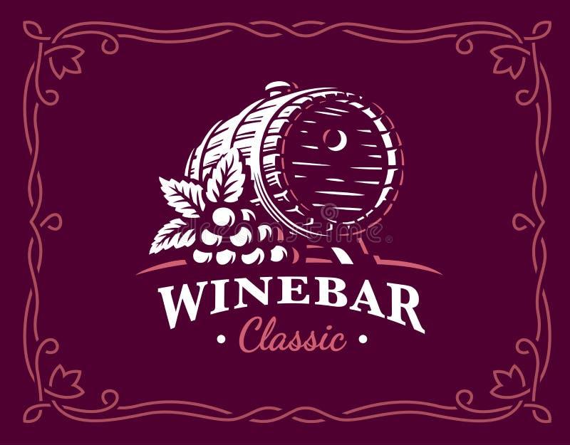Wine barrel logo - vector illustration, emblem on maroon color background stock illustration